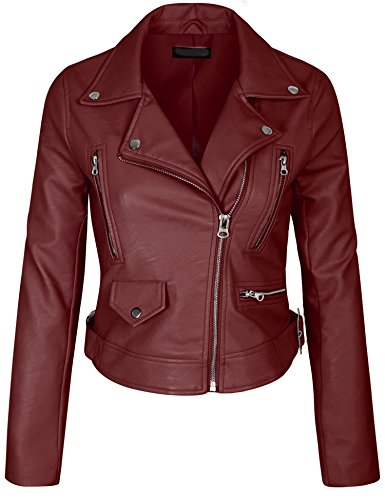KOGMO Womens Double Breasted Faux Leather Zip Up Jacket-M-RED (Womens Maroon Leather Jacket)