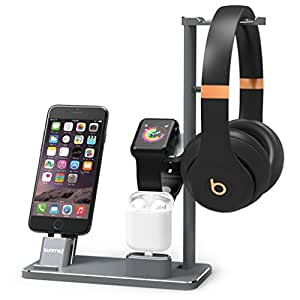XUNMEJ 6 In 1 Apple Watch Stand Station Aluminum iWatch Charging Stand Dock Station Headphones Holder for Apple Watch Series 2 / 1 AirPods iPhone 7 7plus 6s 6plus iPad (Gray)