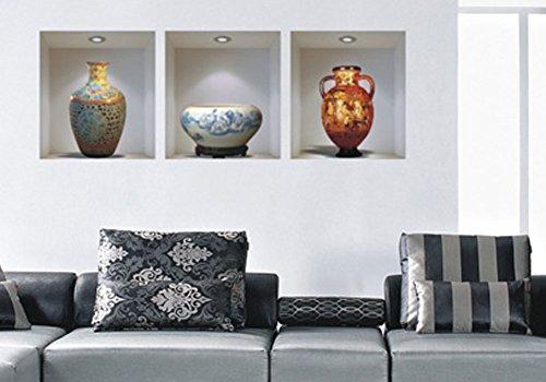 Fange DIY Removable 3 Pieces 3D Ceramics Vase Art Mural Vinyl Waterproof Wall Stickers Living Room Decor Bedroom Decal Sticker 13.7''x11.8''