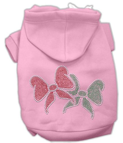 Mirage Pet Products Christmas Bows Rhinestone Hoodie Pink L (14)