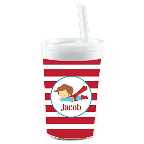 Red Striped Flying Superhero Personalized Built in Straw Tumbler