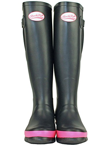 Matt Black Uk5 Waterproof Hot Rockfish Tall Pink Adjustable Wellies 8XIwqI