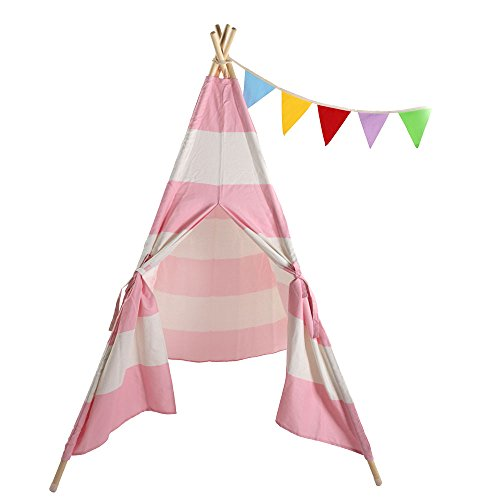 Lovinland Kids Play Tent Children Teepee Tent Small Play House Dome 120 x 120 x 150 cm Canvas and Wood (Pink Strip) ()