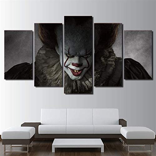 Artwcm Pennywise Clown IT Horror Scary Halloween 5PCS Oil Paintings Modern Canvas Prints Artwork Printed on Canvas Wall Art