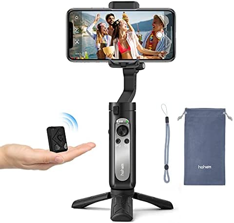 3-Axis Gimbal Stabilizer for Smartphone – Handheld Phone Gimbal w/ Remote Auto Inception Dolly Zoom Foldable Gimbal for iPhone 12 11 Pro Max Samsung S20 for YouTube Vlog – hohem iSteady X2 (Black)