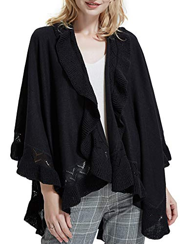 (Spicy Sandia Ruffle Poncho for Women Knit Ruffled Trim Open-Front Cape Black Wrap Shawl)