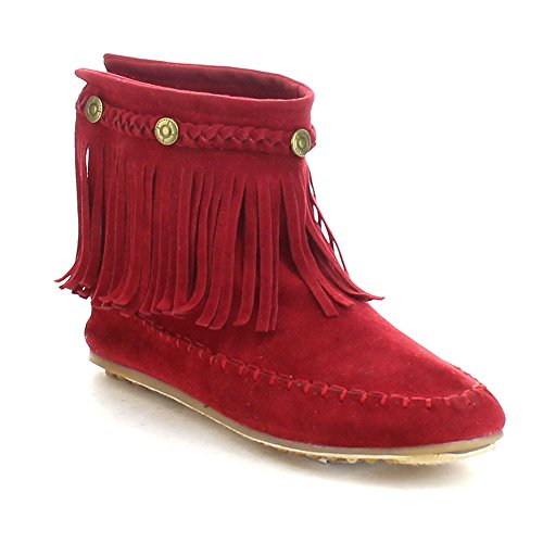 REFRESH JOLIN-01 Women's Fringe Moccasin Strappy Flat Heel Zipper Ankle Boots, Color:RED, Size:9 (Red Women Boots)