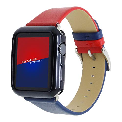 Watch Band:Krimis 38mm 40mm 42mm 44mm iwatch4 hit Color Corium Letter Band Replacement Bracelet Strap Calf Leather for Apple Watch S1 S2 series3 S4 Sports and Edition (red-Blue, 38/40mm)