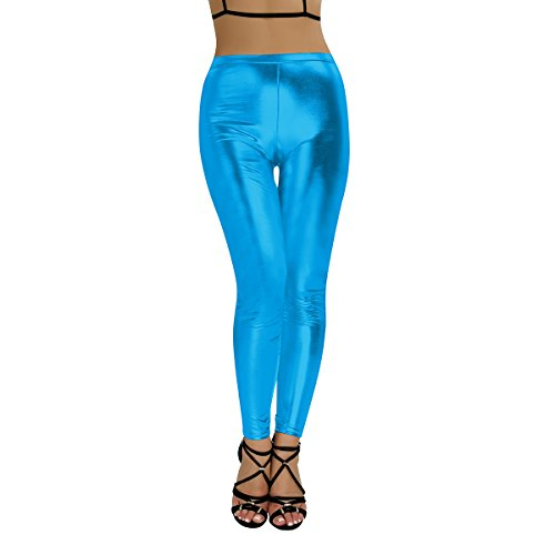 Belly Dance Costumes Las Vegas (iEFiEL Women Metallic Dance Show Costume Leggings Stretchy Patent Leather Pants Blue Small)