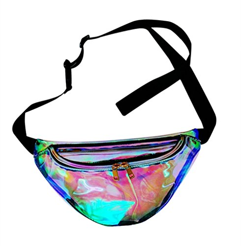 Holographic Fanny Pack Bum Travel Waist Pack for Raves and - Sunglasses See Clothes Through