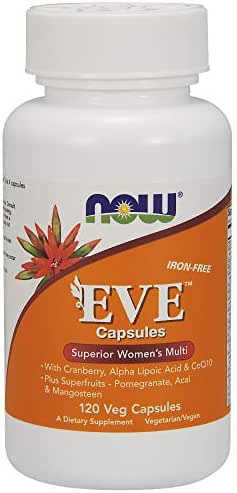 NOW Supplements, Eve™ Women's Multivitamin with Cranberry, Alpha Lipoic Acid  and CoQ10, plus Superfruits - Pomegranate, Acai & Mangosteen, Iron-Free, 120 Veg Capsules