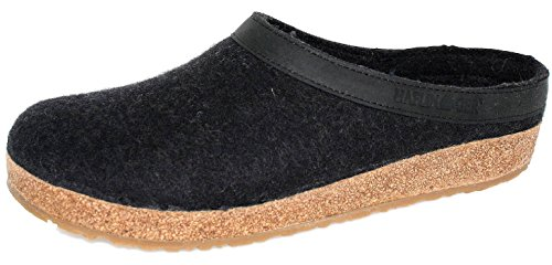 Haflinger Leather Shoes (Haflinger Unisex GZL Leather Trim Grizzly Charcoal Clog/Mule 38(US Women's 7))