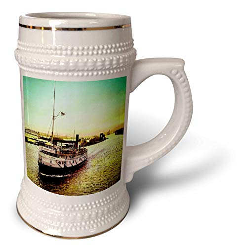 3dRose Scenes from the Past - Magic Lantern - Hand Tinted SS Japan in the Soo Locks Sault Ste. Marie Michigan - 22oz Stein Mug (stn_301308_1)