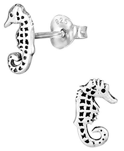 Hypoallergenic Sterling Silver Seahorse Stud Earrings for Kids (Nickel Free)