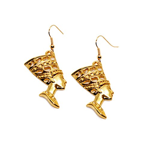 [Joji Boutique: Golden Nefertiti Egyptian Drop Earrings] (Pharaoh Headdress)
