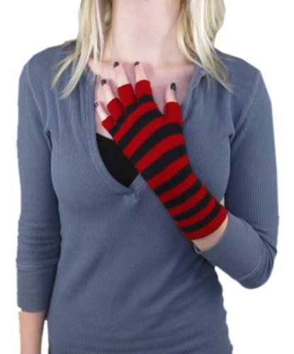 New Gothic Black And Red Striped Fingerless Gloves Punk Stripes