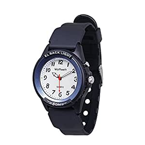 WOLFTEETH Analog Quartz Boys Wrist Watch with Second Hand Luminous Backlight White Dial Water Resistant Fashion Watch Blue/305202