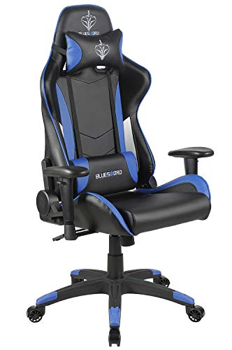 BLUE SWORD Ergonomic High-Back Gaming Chair, 360° Rotated Executive Office with Headrest and Lumbar Support, Carbon Fiber Cover, Blue&White Review