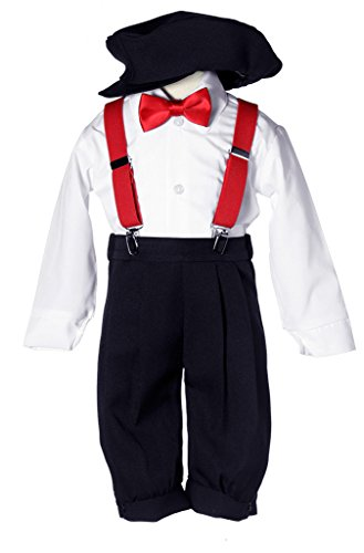 Boys Black Vintage Knicker Set with Red Suspenders & Red Bow Tie 8]()