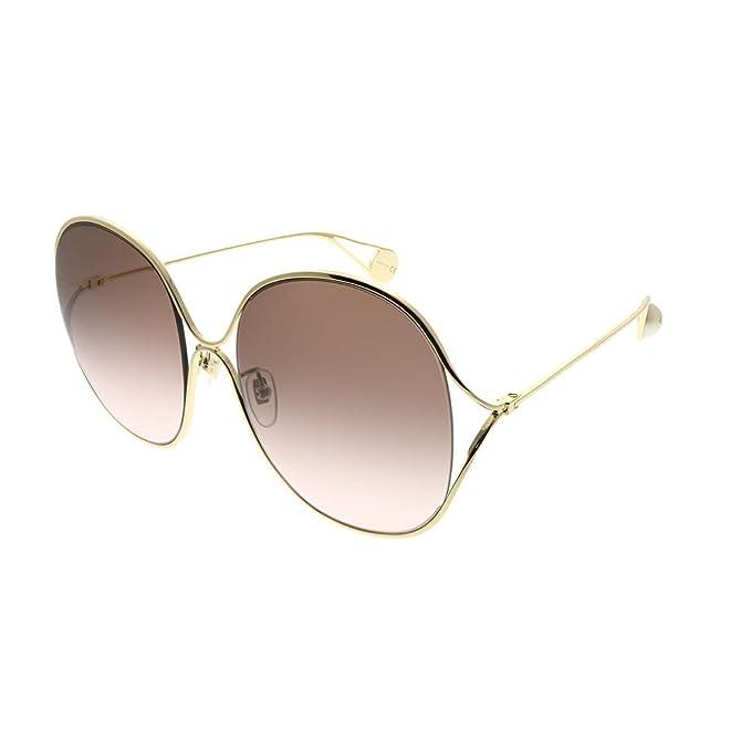 Amazon.com: Gafas de sol Gucci GG 0362 S- 002 GOLD/BROWN ...