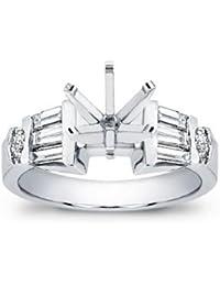 0.75 Ct ttw Ladies Baguette and Round Cut Diamond Semi Mount Engagement Ring in Platinum