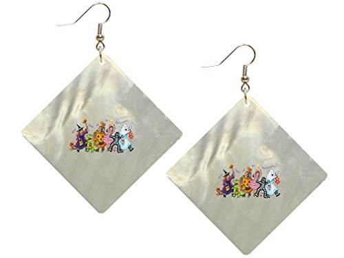 Kids With Costumes Of Halloween Vintage Look Mother of Pearl Shell Earings Square
