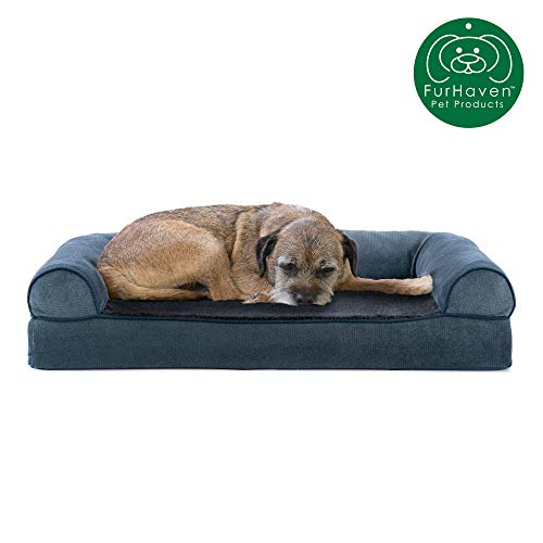 Furhaven Pet Dog Bed | Cooling Gel Memory Foam Faux Fleece & Chenille Soft Woven Traditional Sofa-Style Living Room Couch Pet Bed w/ Removable Cover for Dogs & Cats, Orion Blue, Medium