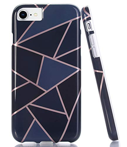 BAISRKE Shiny Rose Gold Lines Navy Blue Geometric Case Slim Soft TPU Rubber Bumper Silicone Protective Phone Case Cover Compatible with iPhone 8 / iPhone 7 / iPhone 6 6s -