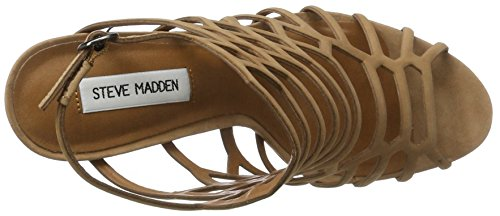 Steve Madden Slithur Sandal, Sandalias de Punta Descubierta para Mujer Marrón (Camel)