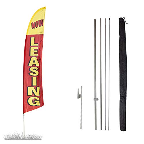 Vispronet - Now Leasing Feather Flag Kit - 13.5ft Swooper Flag with Pole Sets and Ground Spike - Printed in The USA