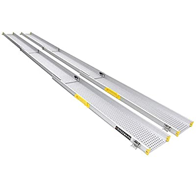 "Ruedamann 10' x 6.5"" Aluminum Adjustable Telescoping Wheelchair Ramps, Sold in Pairs (MR107T-10)"