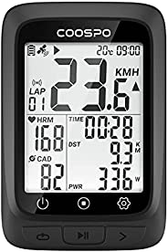 COOSPO GPS Bike Computer Wireless, Bluetooth ANT+ Cycling Computers Work with ANT+ HR/Cadence Speed Sensor, Bi