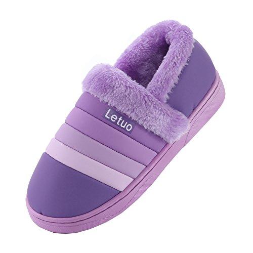 PU-Streifen Leder wasserdicht Pantoffeln-Unisex Winter warm Pl¨¹sch Bootie Schuhe