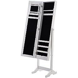 Giantex Mirrored Jewelry Cabinet Armoire Mirror Organizer Storage Box Ring with Stand, White