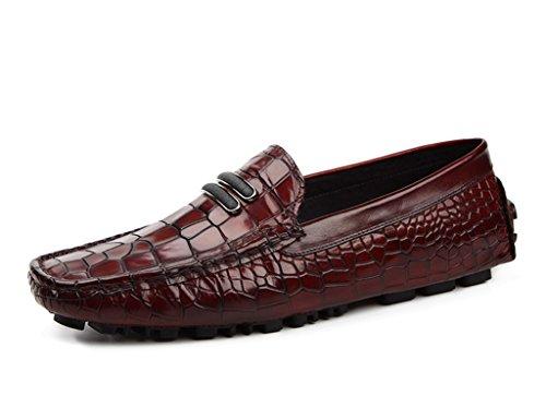 HWF Scarpe Uomo in Pelle Spring Peas Shoes Scarpe da uomo in pelle Scarpe casual Stile inglese Lounger Traspirante (Colore : Nero, dimensioni : EU39/UK6) Vino Rosso