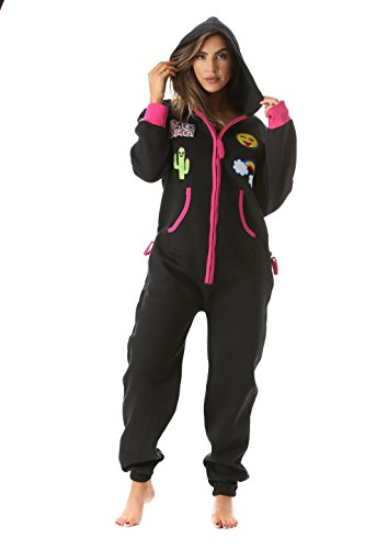 #followme 6456-BLK-M Adult Onesie with Patches Pajamas Jumpsuit