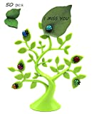Ladybug Magnet Tabletop Memo Clip Holder with Lucky Funny Tree Holder and 50 pcs Green Leaves Sticky Notes(5.8inch)