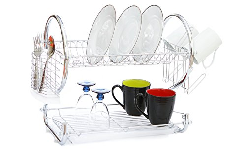 Modern Kitchen Chrome Plated 2-Tier Dish Drying Rack and Draining Board - Organized Utensil Holder, Mug Dryer, Fits Large Plates, Travel Mugs, and Baking Accessories - Quick Dry with Drip (Draining Tray)