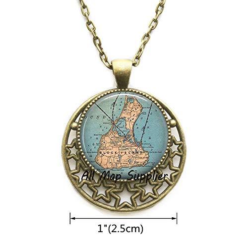 AllMapsupplier Fashion Necklace,Block Island map Necklace,Block Island Necklace,Block Island map Pendant,Block Island Pendant,A0284 (2)