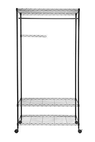 HollyHOME Sturdy Closet Organizer with wheels, Shelving Garment Rack Rolling Clothes Rack Movable Wardrobe with 3 Adjustable Shelves and Side Hanger, Black