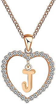 LOSTOX Lover Heart Initial Letter Pendant Necklace for Women Dainty Rose Gold Necklace Jewelry Gift for Women