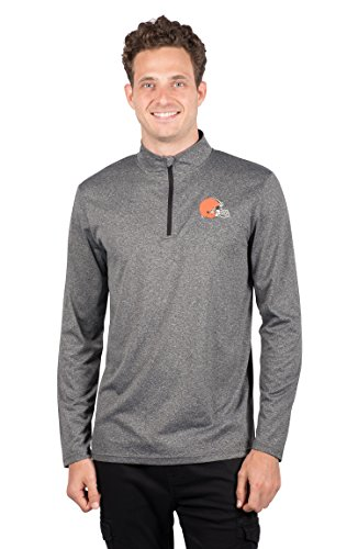 ICER Brands Men's Quarter Zip Pullover Shirt Athletic Quick Dry Tee, Gray, Heather Charcoal 18, Medium