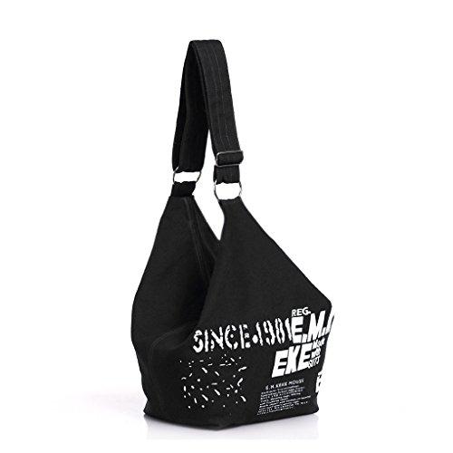 FakeFace Neue Art Modische Damen Canvas Tasche Schultertasche Umhängetasche Henkeltasche Damentasche Segeltuch Leinen Bag (Schwarz)