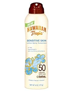 Hawaiian Tropic Sensitive Skin Lotion Spray Sunscreen SPF 50: 6 OZ