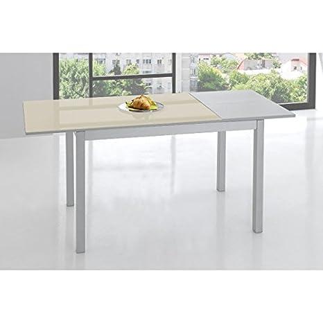 SHIITO Mesa de Cocina 120x70 cm Extensible y Tapa en Cristal ...