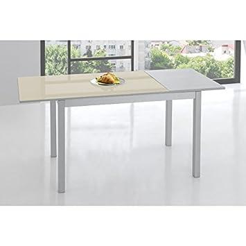 SHIITO Mesa de Cocina 120x70 cm Extensible y Tapa en Cristal: Amazon ...