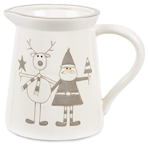 Pavilion Gift Company Holiday Hoopla Santa and Reindeer Ceramic Christmas Pitcher, 5.75