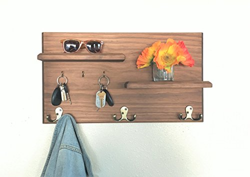 Midnight Woodworks Original Entryway Organizer Coat and Key Rack with Floating Shelves Cherrywood Finish with Antique Brass Hooks
