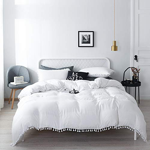 EOSRAY Bedding Duvet Cover Set, Tufted Tassel Fringe 3 PCS Duvet Cover, 100% Brushed Microfiber, 1 Duvet Cover and 2 Pillow Shams with Hidden Zipper Closure & Four Corner Ties(Off White, King Size)