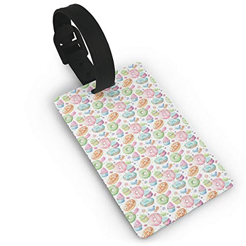 Luggage Tags Flexible Travel ID Identification Labels,Candy Shop Inspired Whipped Cream Topped Cupcakes Swirl Lollipops Macarons Donuts,Travel Accessory With Wristband
